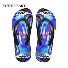 WHEREISART Rainbow Paisley Print Beach Flip Flops Men Slippers Shoes Comfortable Mens Sandals Casual Summer Dropshipping