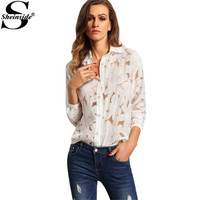 Sheinside Office Ladies White Lapel Long Sleeve Buttons Front Sheer Tops Fashion Women Tops 2016 Newest