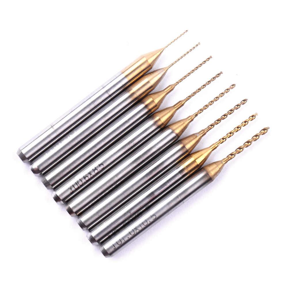 Alta Precisión 10 piezas 0,3mm-1,0mm tungsteno carburo titanio Micro broca conjunto CNC PCB grabado Taladro broca para Jade ámbar nuevo