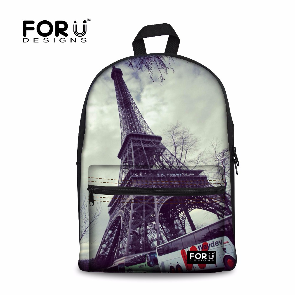 FORUDESIGN Brand 3D Eiffel Tower Printing Schoolbags For Teenagers Girls Fashion Vintage School Backpacks Travel Canvas