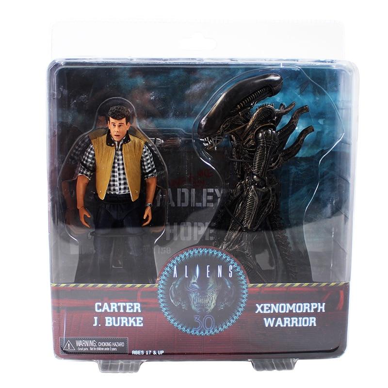 2 pièces/ensemble NECA extraterrestres VS prédateurs Xenomorph guerrier Carter J. Burke figurine à collectionner modèle jouet