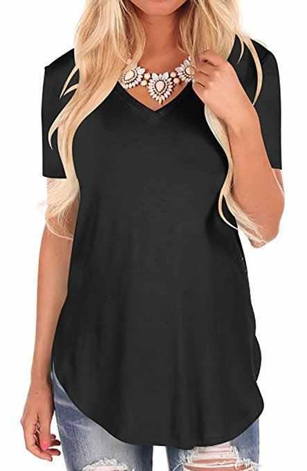 Tshirt 여성 2020 새로운 유럽 여름 스타일 패션 v-목 반팔 티셔츠 여성 vestidos dropshipping nxb1253