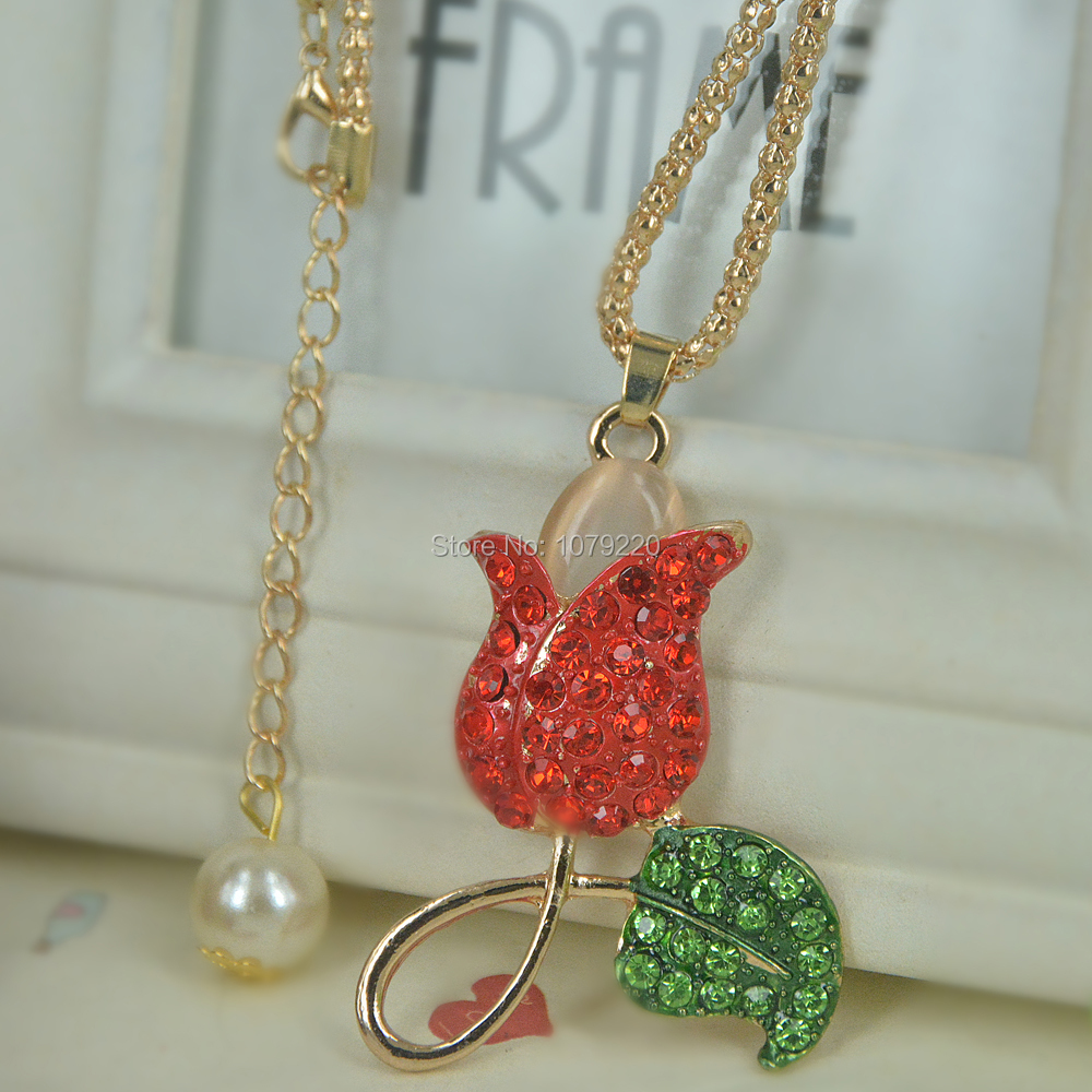 Rose Flowers Bead Sweater Necklace Jewelry Crystal For Women Long Necklace Pendants Rhinestone Chain Christma Valentines Gift