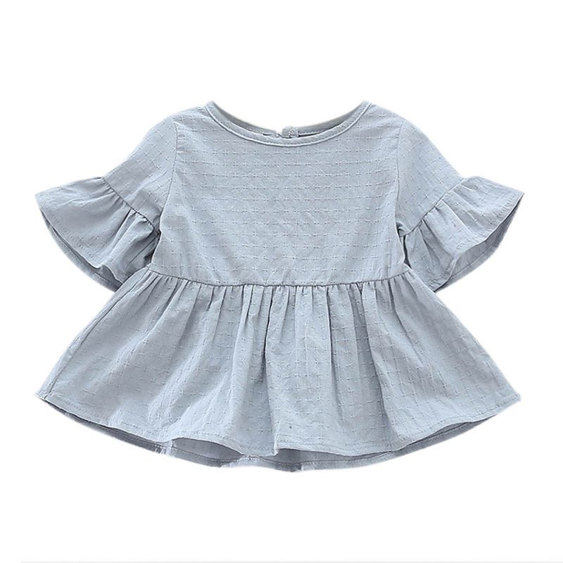 Spring Summer Baby   Shirt   Cute Cotton Flaer Sleeve Short-sleeved Lotus Leaf   Blouses   Kids Girls   Blouse   for Children   Shirts   Dress