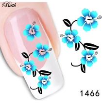 Bittb 2pcs Blue Flower Design Water Transfer Nail Art Sticker Decal French Manicure DIY Foil Fingernail Tips Nail Decorations