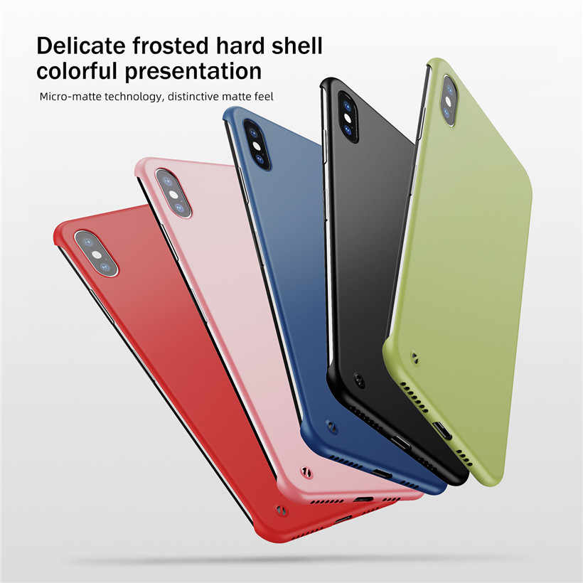 USLION Ultra Slim Matte FramelessสำหรับiPhone 11 Pro Max XS Max XR X 6 6S 7 8 PlusสีCandy Hard PCปกหลัง