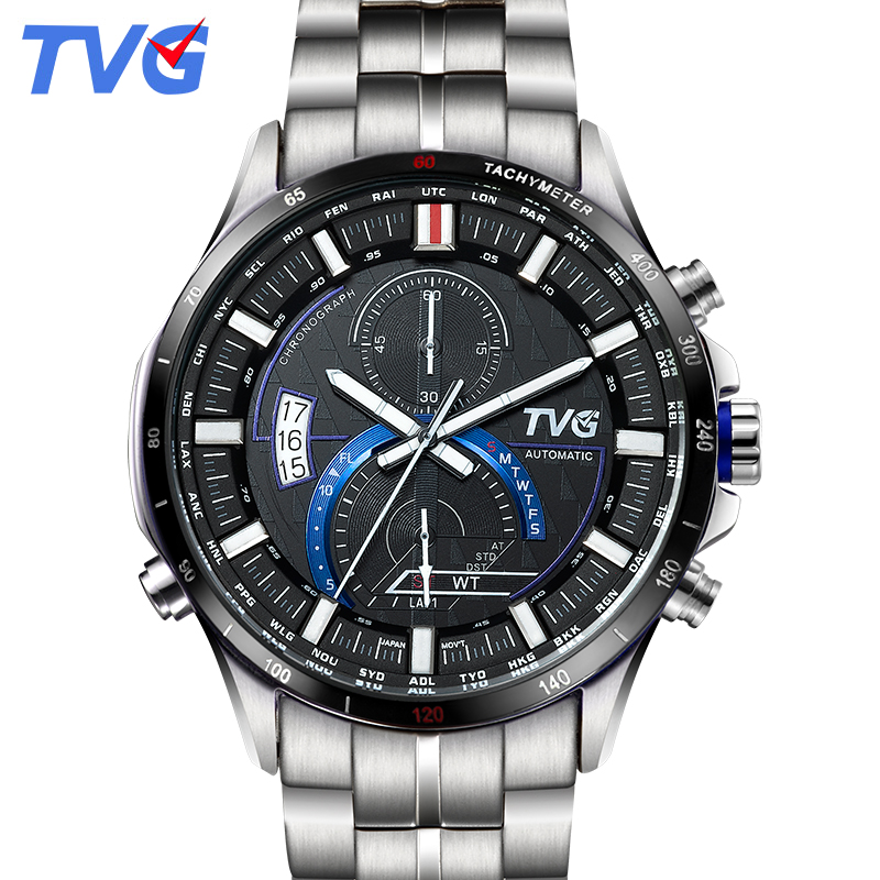 TVG watch men 2018 Fashion male clock Stainless Steel Sport Quartz Watch Display Date Day Week Casual Waterproof Wrist Watches geeekthink top brand quartz watch men s fashion full stainless steel casual wrist watches imported movement waterproof date week