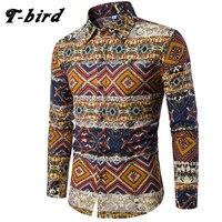 T Bird Brand Clothing 2017 Fashion Shirt Male Flax Dress Shirts Slim Fit Turn Down Men