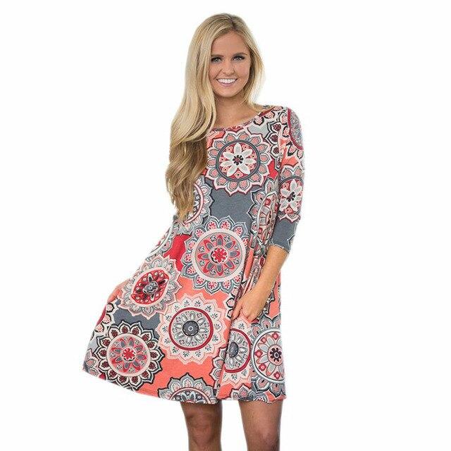 ed5090dd9b Summer Midi Dress Women Tunic Retro Mandala Print Mini Dress Beach Style  Party Dresses Loose Casual Dresses Vestidos De Fiesta