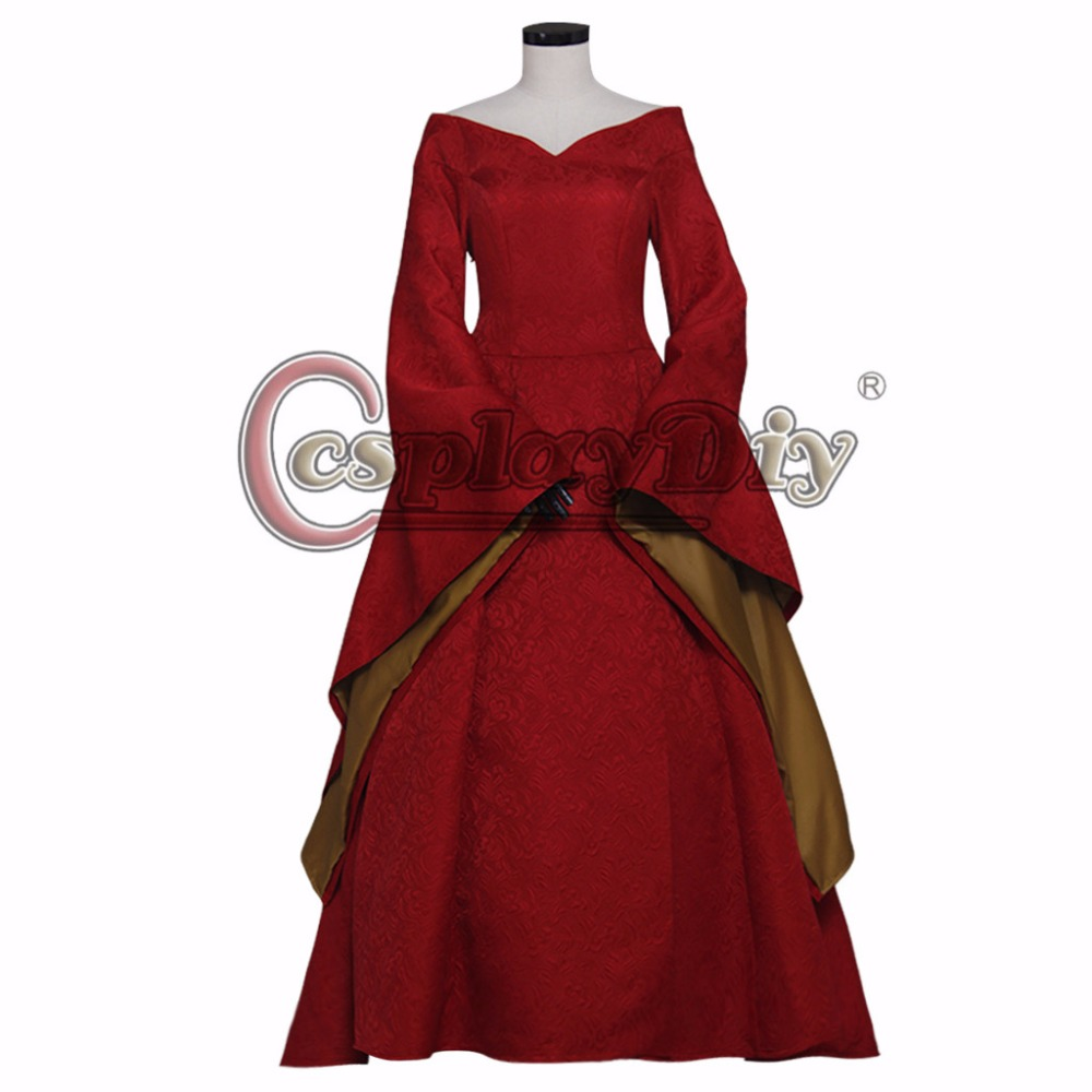 Cosplaydiy  Game of Thrones Cersei Lannister Cosplay Red Medieval Dress For Adult Women Halloween Carnival Costume Custom Made