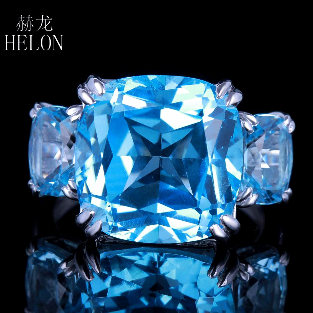 HELON 13.3ct Sky Blue Topaz Cushion Shape Sterling Silver 925 Natural Diamonds Ring Enga ...