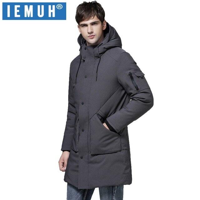 Iemuh модная зимняя верхняя одежда Подпушка куртка Для мужчин ветрозащитный Водонепроницаемый серая утка Пуховик парка мужской длинный плюс Размеры Теплая куртка