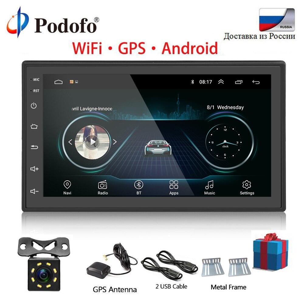Podofo 2 Din autoradio Android universel GPS Navigation Bluetooth écran tactile Wifi voiture Audio stéréo FM USB voiture multimédia MP5