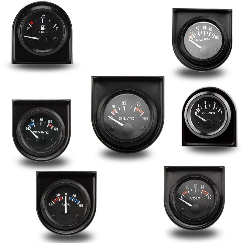 2 52 MM température de l'eau/température de l'huile/presse à huile psi/presse à huile kg/Volt/ampèremètre/niveau de carburant (sans flotteur) jauge de voiture