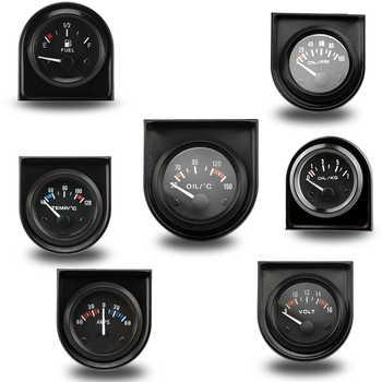"""2 """"52 MM température de l'eau/température de l'huile/presse à huile psi/presse à huile kg/Volt/ampèremètre/niveau de carburant (sans flotteur) jauge de voiture"""