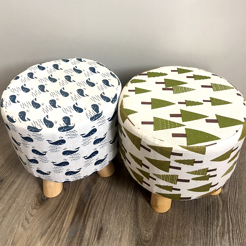 Creative Wood Children's Small Stool Multi-Function Modern Home Psatoral Living Room Bedroom Practical Fabric Simple Stool Wood