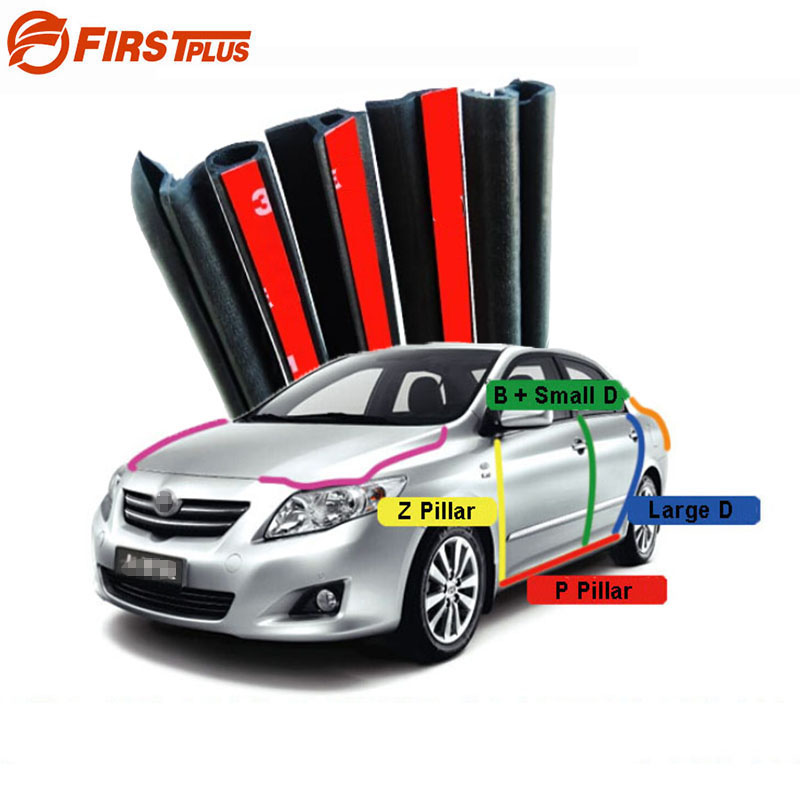 For Toyota Corolla Camry Rubber Seal Straps Front Rear Doors Bonnet Trunk Cover Anti Noise Dust Sealing Strips B D P Z Type cawanerl car sealing strip kit weatherstrip rubber seal edging trim anti noise for nissan almera march micra note pixo platina