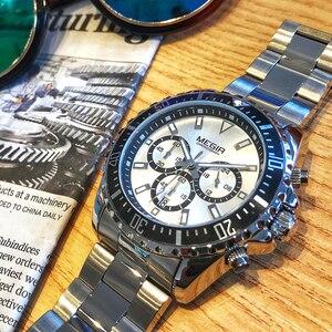 Image 3 - MEGIR יוקרה מותג עסקי קוורץ גברים שעוני יד מלאה פלדת הכרונוגרף צבאי עמיד למים שעון זכר Relogio Masculino