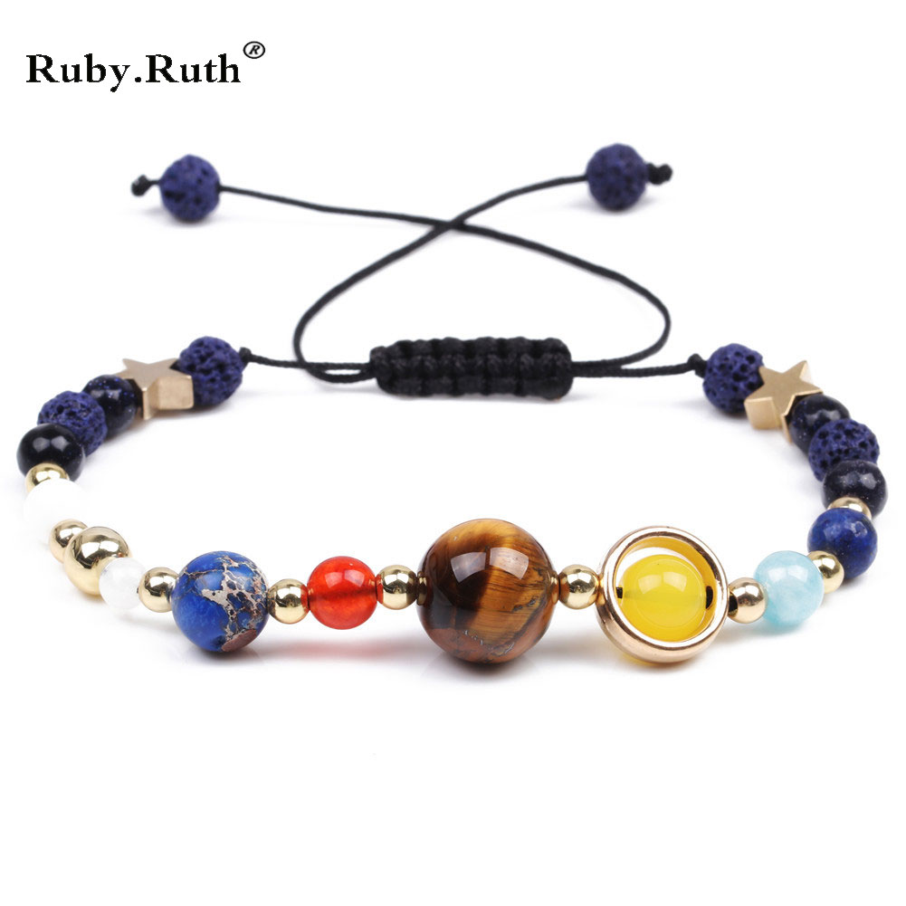 2018 Universe Galaxy the Eight Planets in the Solar System Guardian Star Natural Stone Beads Women & Men Bracelet Bangle