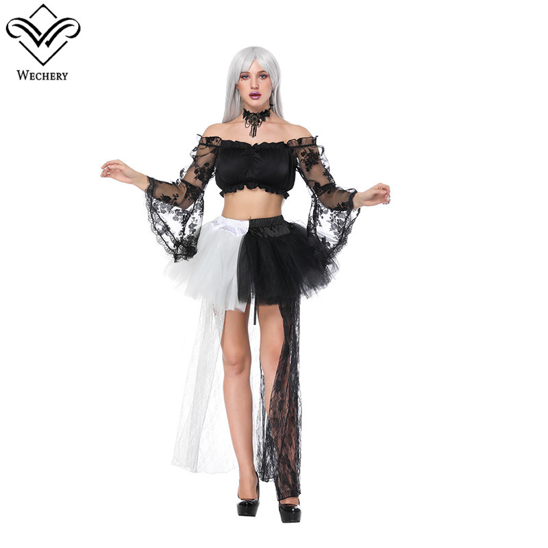 Wechery 2018 Hot Black & White Skirt with Floral Off Shoulder Crop Tops High Low Lace Tulle Skirts and Long Sleeve Tube Top Set