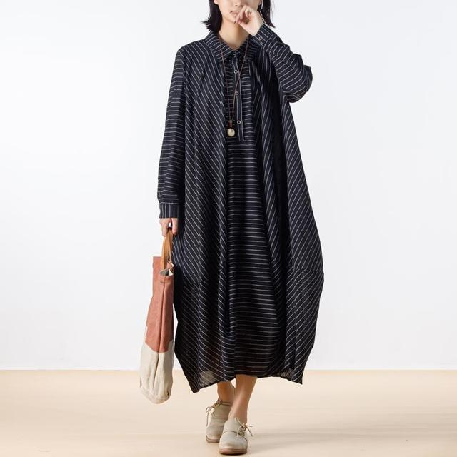 BUYKUD Casual Autumn Linen Striped Dress Office Lady Loose Plus Size Long Sleeve Button Long Dresses Elegant Bud Dresses