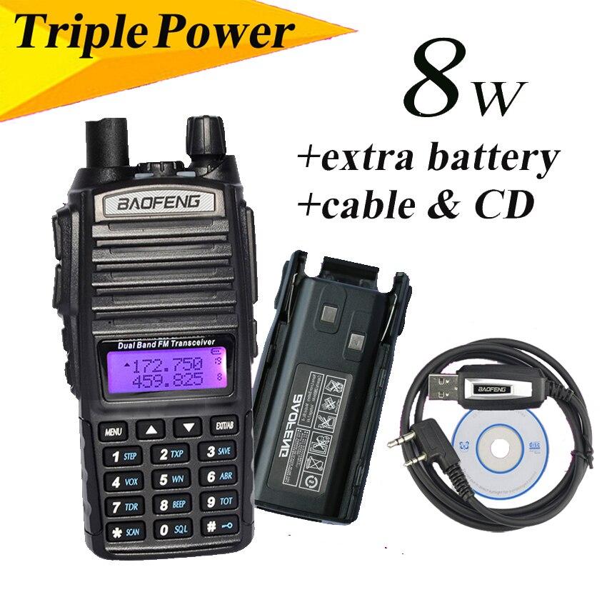 BAOFENG UV-82 Dual Band UHF//VHF137-174//400-520MHz 2-Way Radio+Double PTT Headset