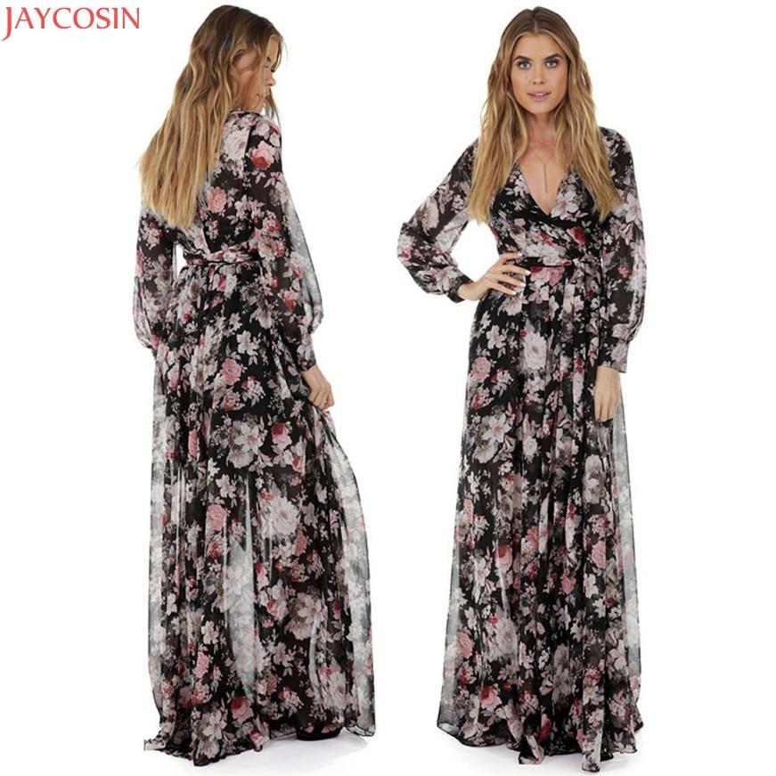 JAYCOSIN Women Dress Party Dress Long Sleeve Dresses V Neck Chiffon Floral Long Maxi Evening Women Party Dress