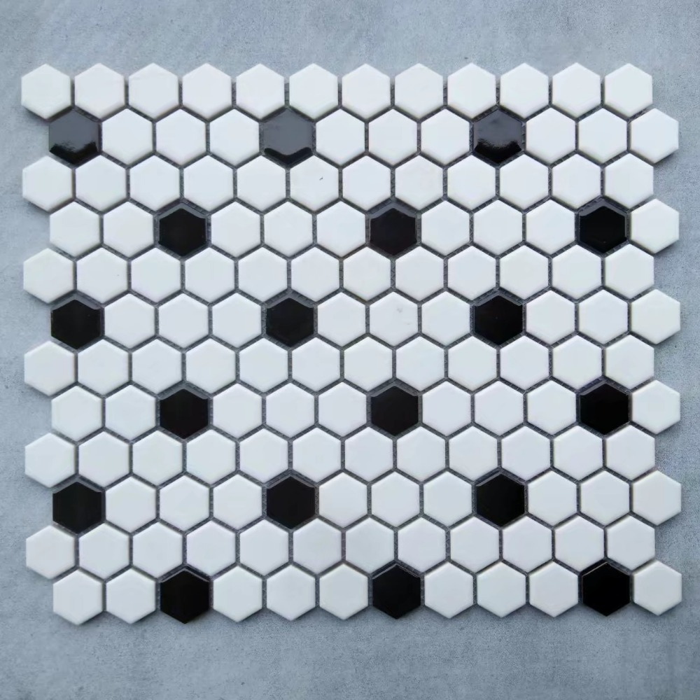 Black White Nordic Hexagon Porcelain Glossy Matt Ceramic Mosaic tile ...