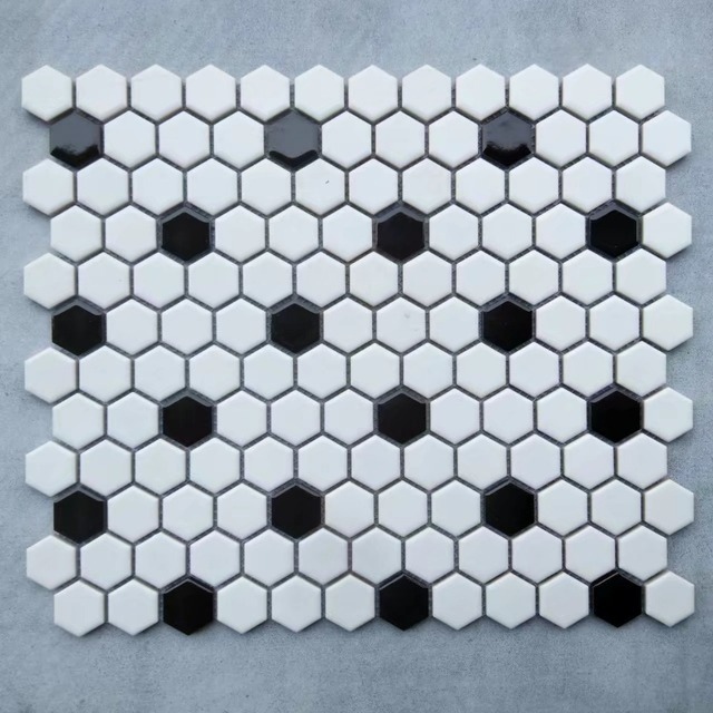 Black White Nordic Hexagon Porcelain Glossy Matt Ceramic Mosaic Tile Kitchen Backsplash Bathroom Pool Wall