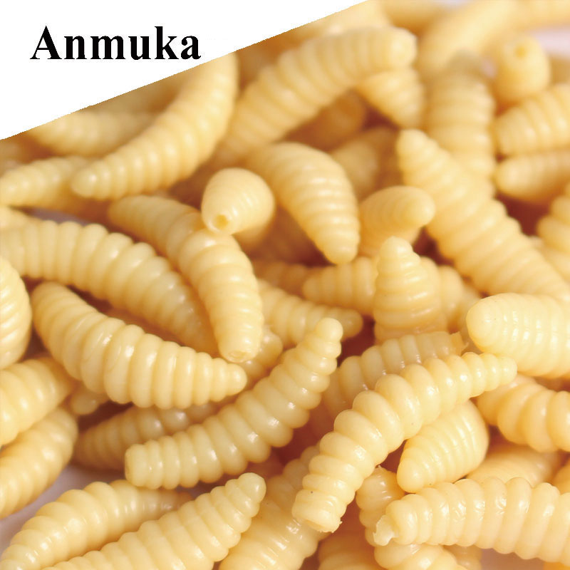 Anmuka Soft Bait 50Pcs 2cm 0.3Grams Maggot Grub Protein Soft Lure Baits Worm Artificial Fishing Lures For Carp jsm 100pcs soft maggot fishing lures white yellow green red mixed color luminous smell soft worm grub fishing bait