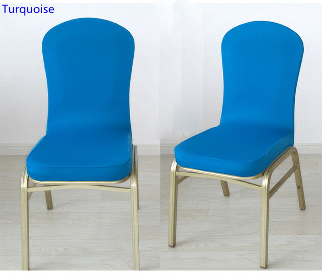 Turquoise Colour Spandex Half Chair Covers For Wedding Chair Decoration  Lycra Stretch Party Chair Cover For