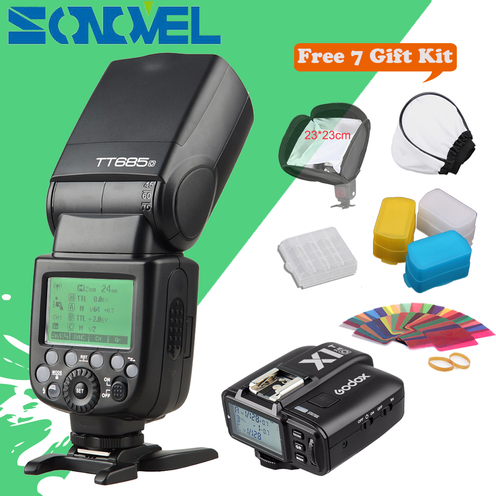 In stock!!! Godox TT685O+X1T-O Transmitter 2.4G HSS 1/8000s TTL II GN60 Camera Flash Speedlite for Panasonic / Olympus +Gift Kit