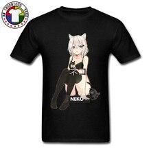 Neko Waifu Ahegao Girl T-shirts Otaku Senpai Nerdy Manga Harajuku Cat Tshirt Pin Up Japanese Comic Anime Popular Tees Men