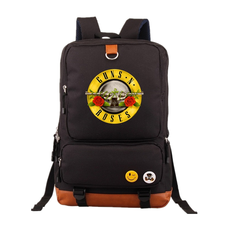 GUNS and roses mens Backpack Knapsack Rock Band Fashion Backpacks Guns N Roses Hip Hop School Bags Teenagers Laptop Bags футболка стрэйч printio guns n roses