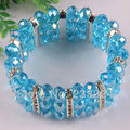 Free Shipping 7x10MM Sky blue Crystal Faceted Beads 18KGP Stretch Bracelet 1Pcs H607