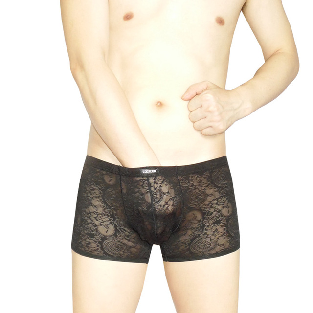 The two men's underwear pants waist U convex sexy lace underwear male boxer underwear in ultra-thin transparent