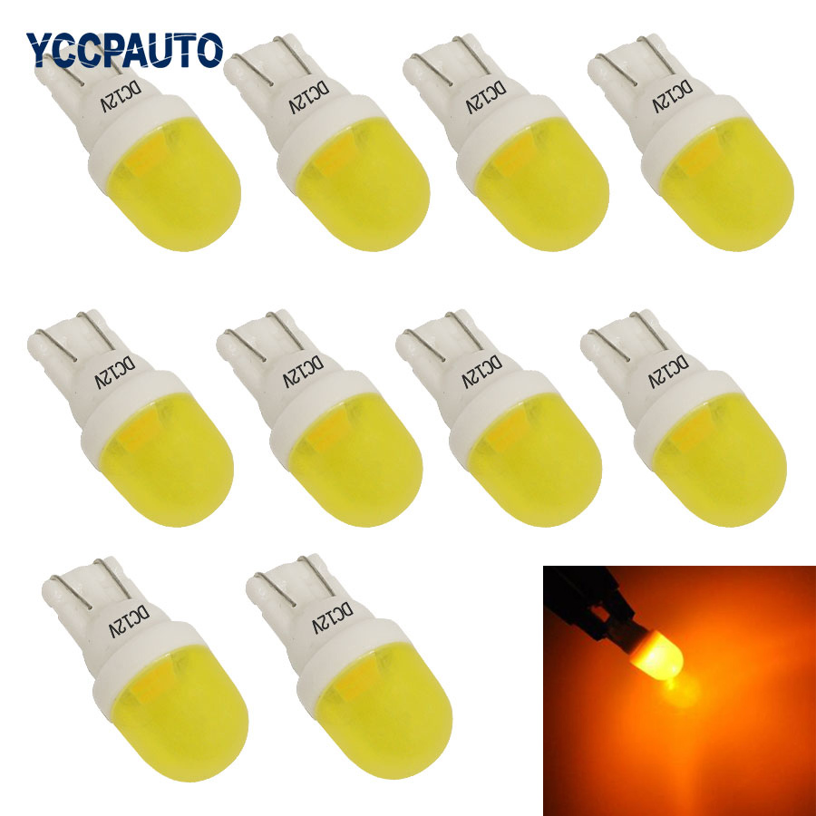 T10 W5W Car LED Lights Ceramic white red green yellow Door Side Number Bulb 168 Auto Wedge Light 2SMD 3030 LED Lamps 10PCS BULBS 4pcs car w5w t10 led light 48 3014 smd side marker lamps warm white clearance lights bulb dc 12v
