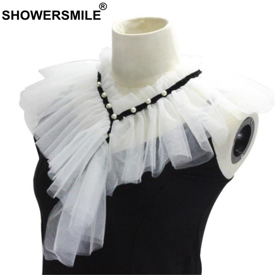 SHOWERSMILE Women Fake Collar White Wedding Ladies Detachable Ruffle Collar Fashion Female Pearl False Collar