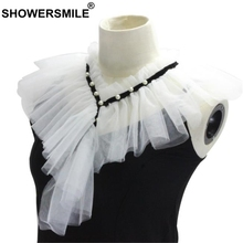 SHOWERSMILE Women Fake Collar White Wedding Ladies Detachable Ruffle Fashion Female Pearl False