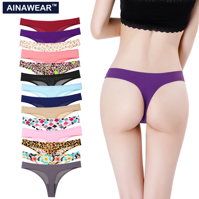 5pc/Lot Women Sexy Thong Panties Plus Size women vs pink G String Cotton Underwear Intimates Basic Fashion Seamless ladies Panty