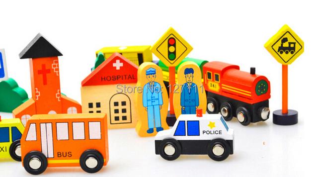 Frete grátis! Brinquedos de madeira de madeira de construção semáforo de crianças de blocos de construção de cenários para bebê