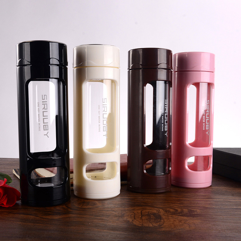 360ml Glass Water Bottle Candy Color Silicone Anti scald Creative Tumbler Portable Sports Glass Bottle Drinking Water Bottles in Water Bottles from Home Garden