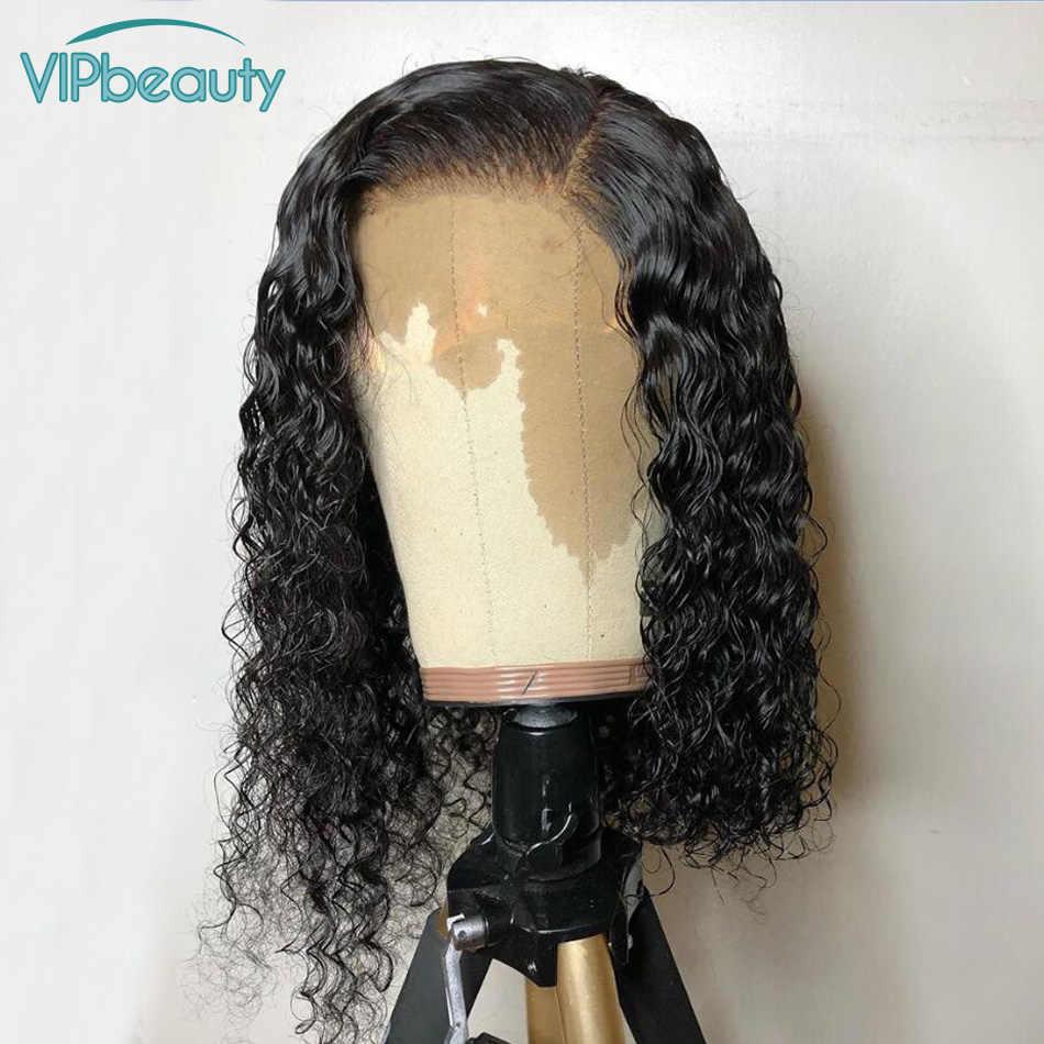"""Vipbeauty 150% Синтетические волосы на кружеве парики из натуральных волос на кружевной глубоко вьющиеся синтетические волосы малазийские волосы с однонаправленной кутикулой Боба парик для Для женщин 10 """"-16"""" натуральный предварительно вырезанные"""