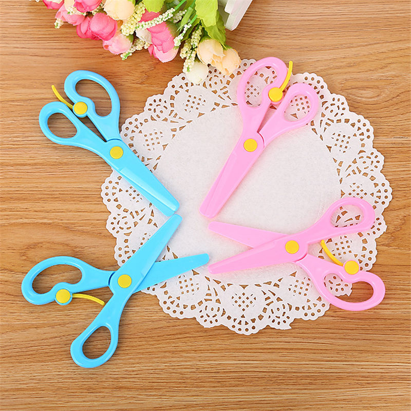 Coloffice High Quality Art All Plastic Safety Scissors DIY Handmade Gifts For Children Toy Wallpaper Sscissors School Supply 1PC