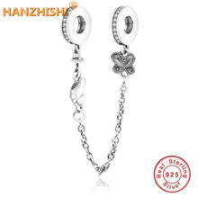 7c5a1a2a9e39 Verano de 2019 del encanto de la plata esterlina 925 pie mariposas cadena  de seguridad Bead Fit Original Pandora pulsera del enc.