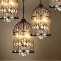 Retro Vila Arte Criativa De Cristal gaiola sótão luz pingente de bar sala de jantar, 4 lâmpadas de Edison Bulb Incluído, AC 90 V ~ 260 V