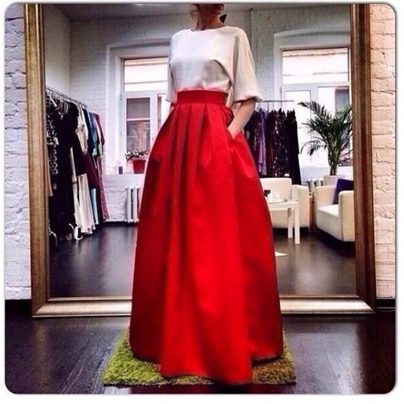 Red Rigid Satin Long Skirts For Women To Party Straight Skirt With