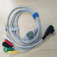 DMS 300 3,300 3A,300 4A,300 4MGY H3,H3M 5lead ecg holter cable, snap,IEC