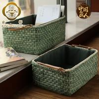 Straw Storage Basket Household Rattan Wicker Basket Box Sundries Organizer Desktop Kitchen Snacks Sundry Basket