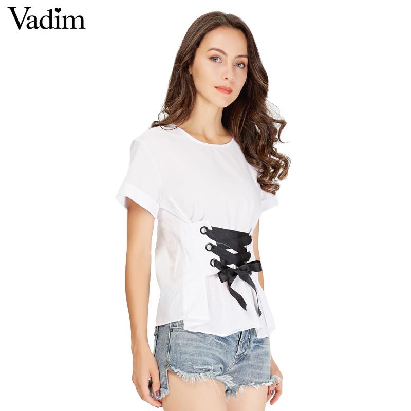 HTB10G0aSVXXXXa9XFXXq6xXFXXXi - women sweet lace up shirt short sleeve o neck black